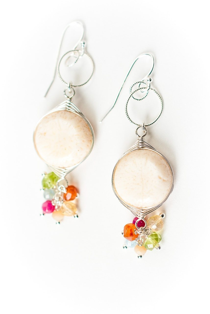 Free Spirit Coral Herringbone Cluster Earrings