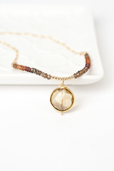 "Firelight 16.5-18.5"" Smokey Quartz Sapphire Gold Necklace"