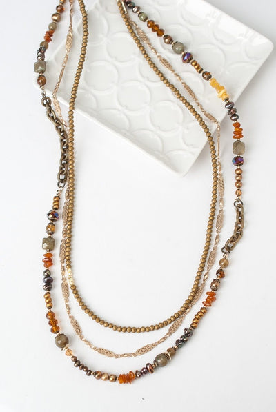 Firelight Adjustable Leather Multistrand Necklace
