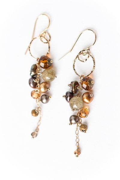 Firelight Cascading Cluster Dangle Earrings