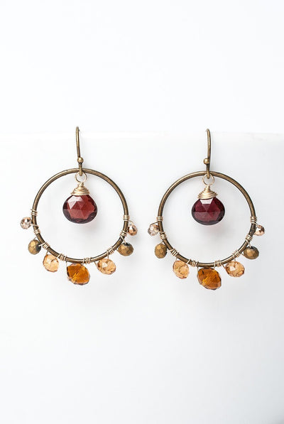 Firelight Garnet Antique Brass Hoop Earrings