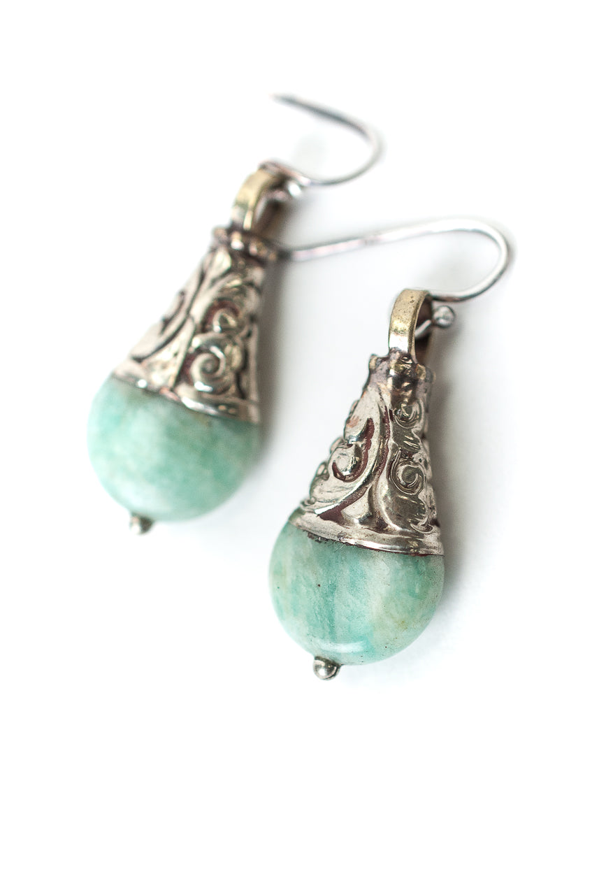 Fresh Air Amazonite, Sterling Silver Dangle Earrings