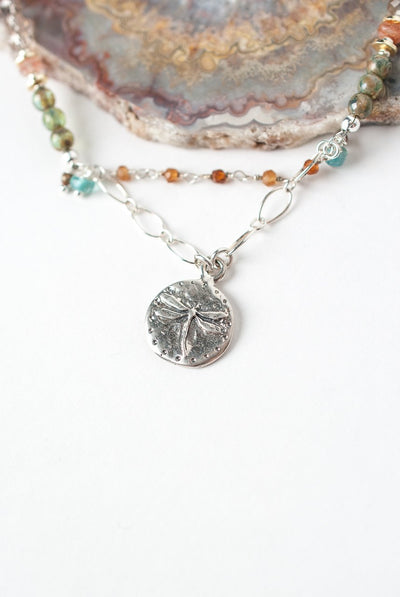 "Gentle Breeze 17.5-19.5"" Silver Dragonfly Collage Focal Necklace"