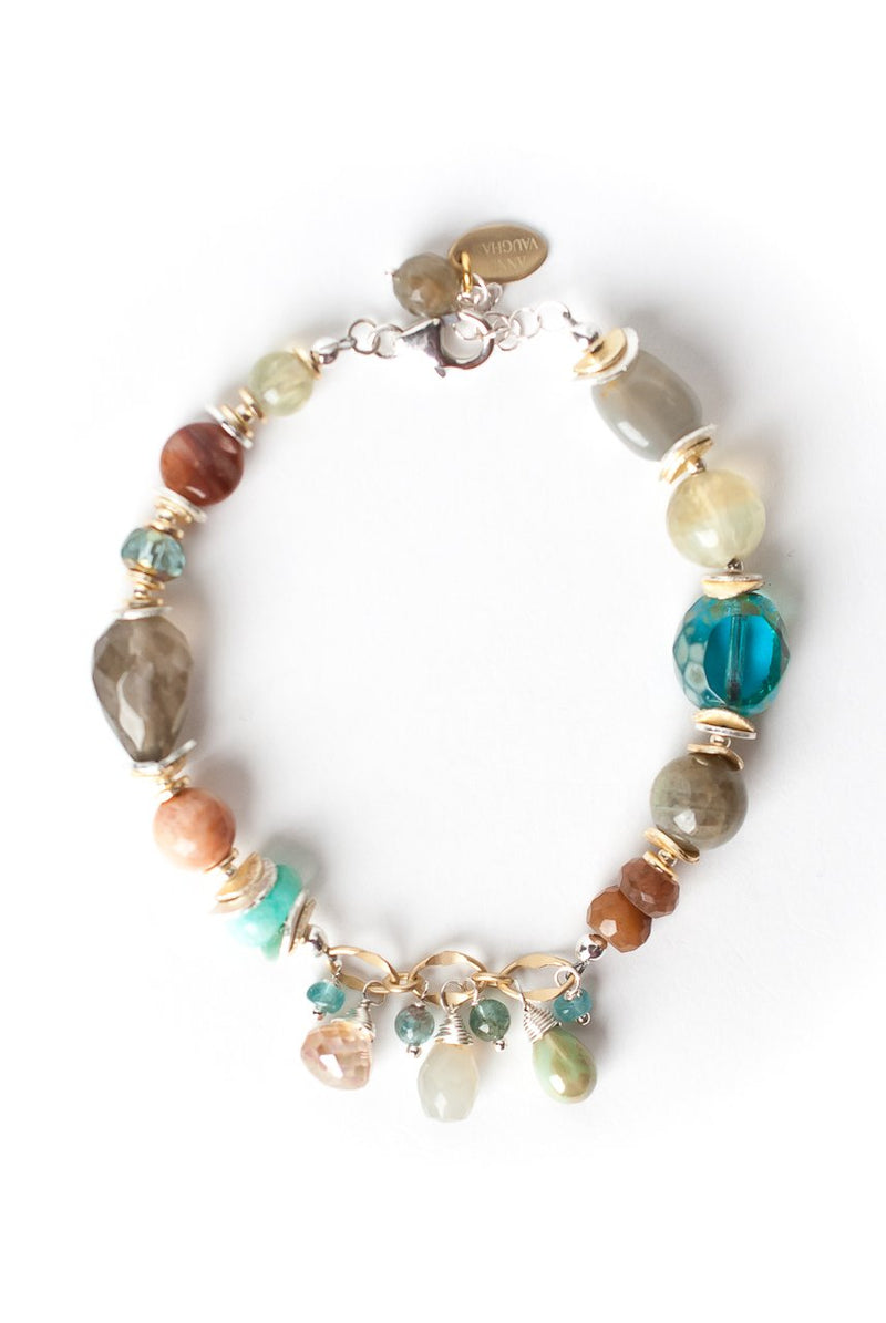 "Gentle Breeze 7.5-8.5"" Chunky Gemstone Cluster Focal Bracelet"