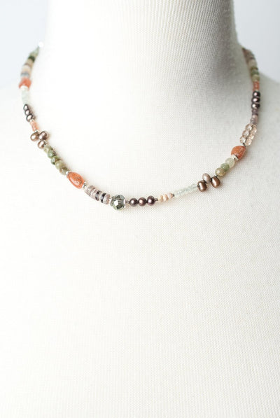 "Gratitude 17-19"" Simple Beaded Collage Necklace"