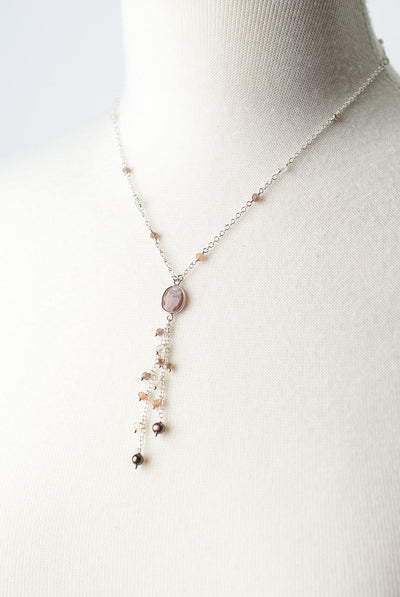 "*Gratitude 17.5-19.5"" Peach Moonstone Tassel Necklace"