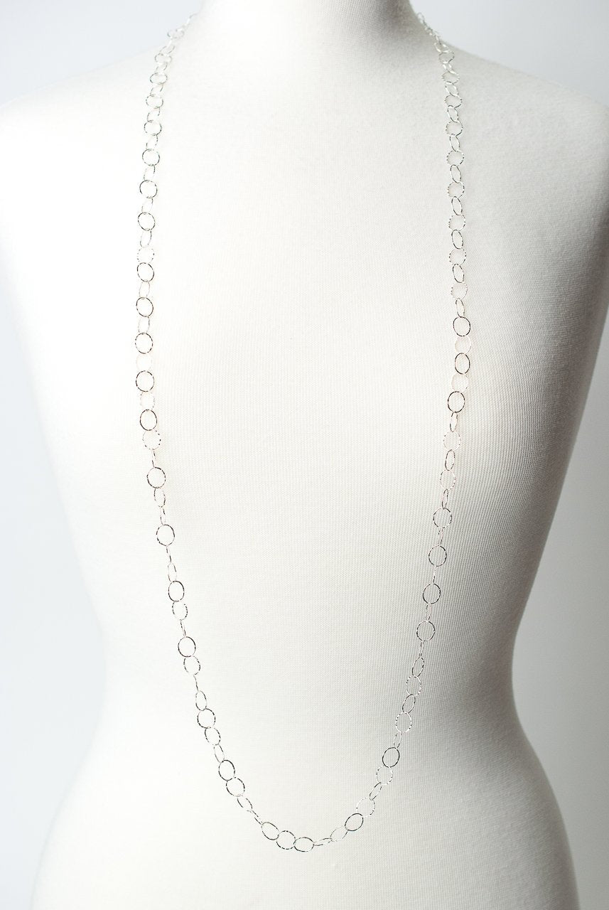 "*Gratitude 45.5"" Simple Sterling Silver Layer Necklace"