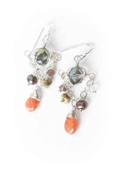 Gratitude Silver Crystal Chandelier Dangle Earrings