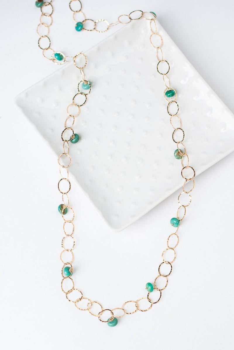 "Green Goddess 28"" Simple Gold Chain with Turquoise Dangle Necklace"