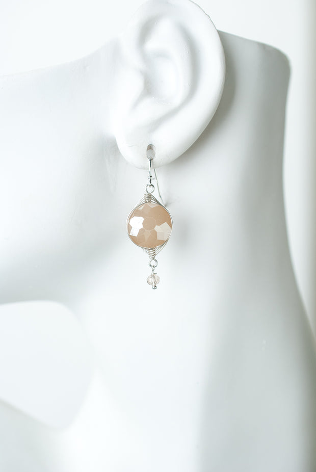 Herringbone Cream Crystal Dangle Earrings 1