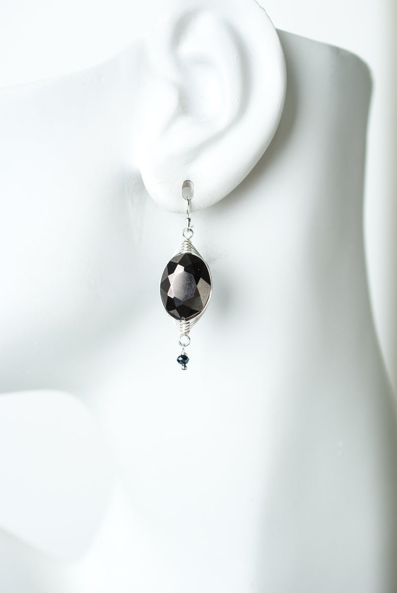 Herringbone Black Crystal Oval Earrings