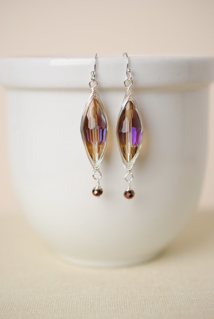 ***Herringbone Purple Crystal Oblong  Dangle Earrings