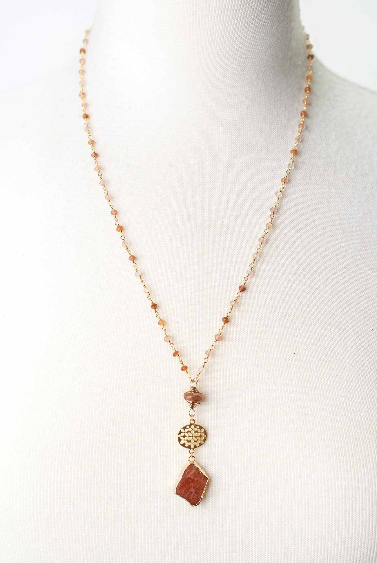 "Limited Edition 22.5-24.5"" Hessonite Garnet, Copper Rutilated Quartz, Sunstone Focal Necklace"