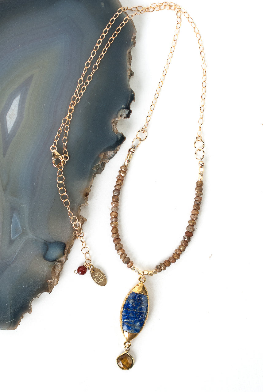 "*Intrigue 18.5-20.5"" Diamond Finish Quartz, Lapis, Tiger's Eye Focal Necklace"