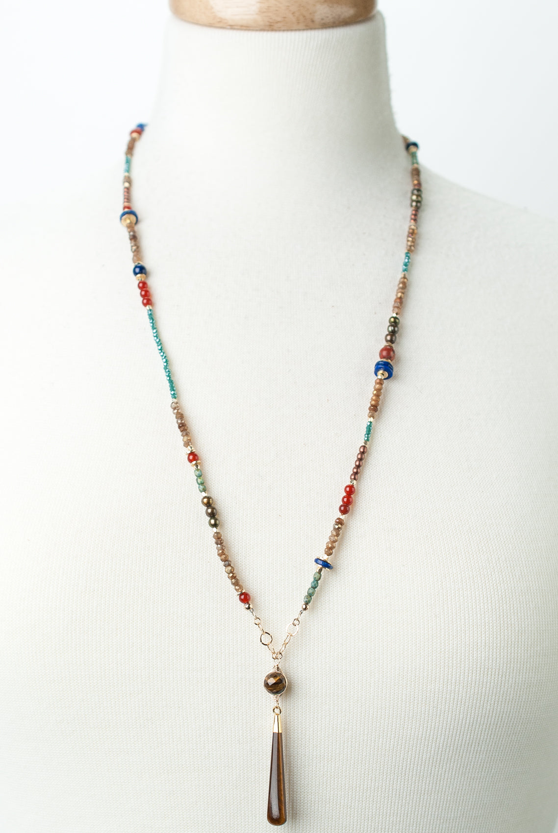 "*Intrigue 28.5-30.5"" Diamond Finish Quartz, Lapis, Jasper, Tiger's Eye Collage Focal Necklace"