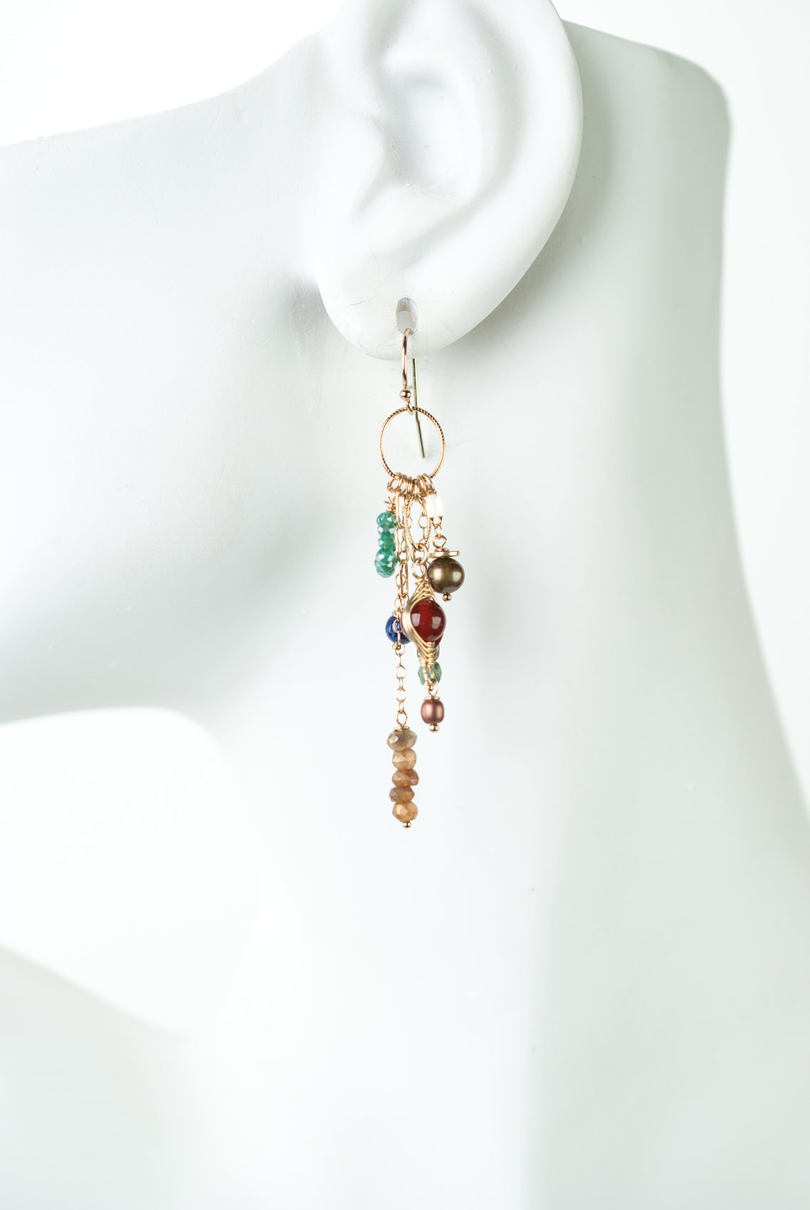 Intrigue Carnelian, Lapis, Pearl Tassel Earrings