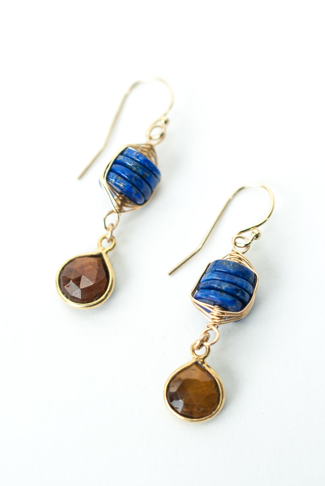 Intrigue Lapis, Tiger's Eye Herringbone Earrings