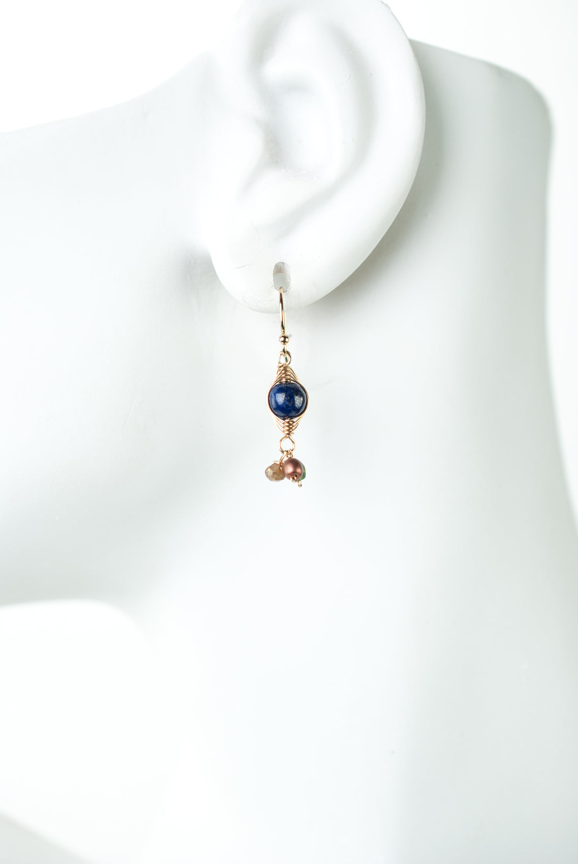 Intrigue Lapis, Quartz, Czech Glass Herringbone Earrings