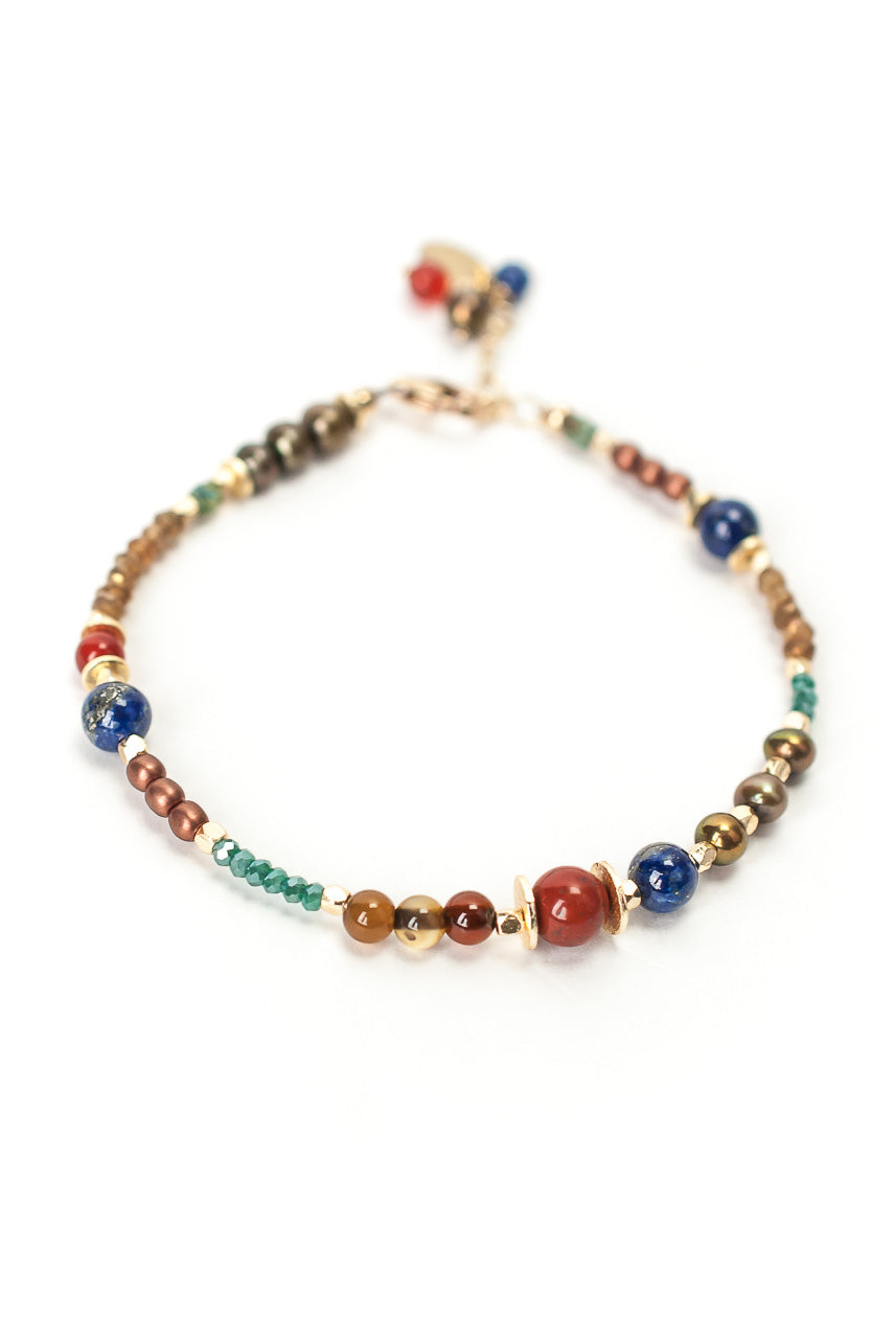 "*Intrigue 7.5-8.5"" Lapis, Pearl, Jasper Simple Bracelet"