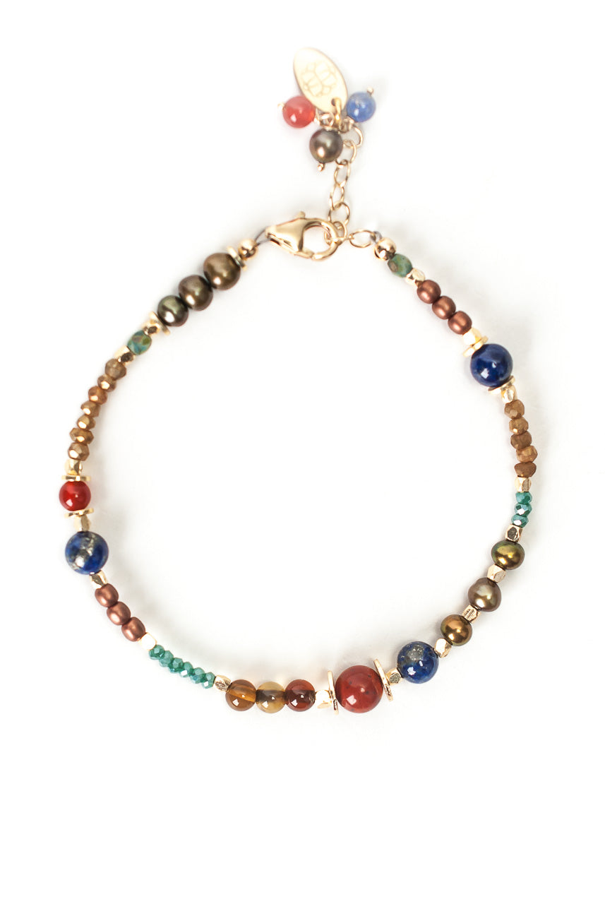 "Intrigue 7.5-8.5"" Lapis, Pearl, Jasper Simple Bracelet"