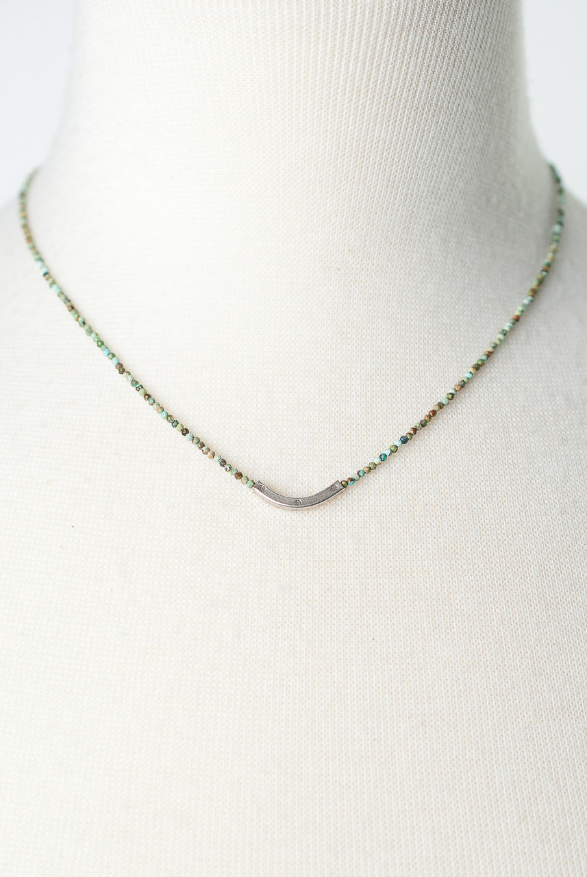 "*Inspiration 16.5-18.5"" Chalk turquoise Fine Silver Focal Necklace"