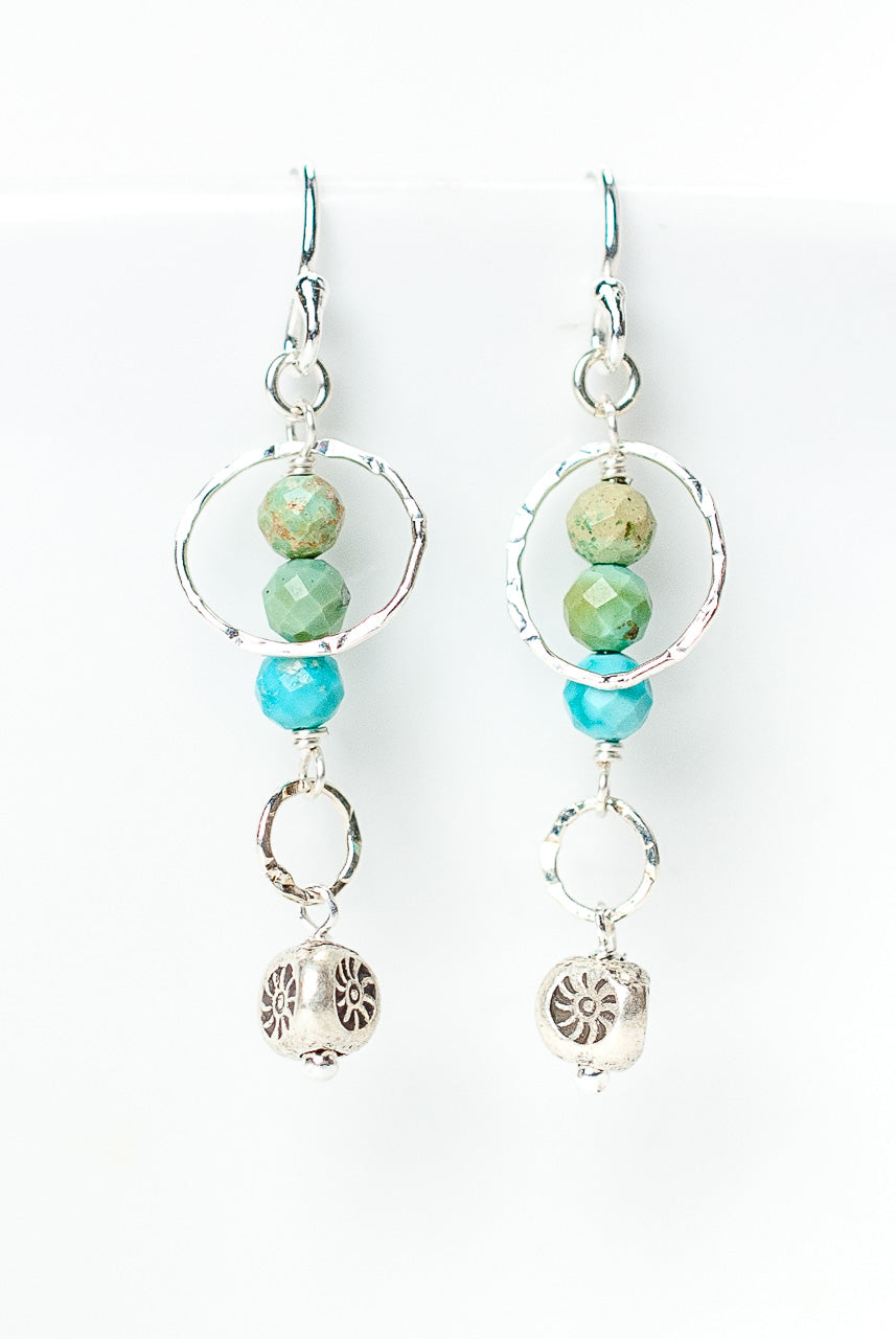 Inspiration Simple Chalk Turquoise Dangle Earrings