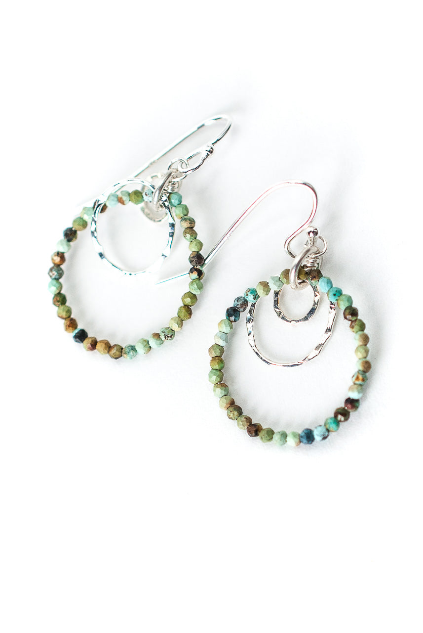 Inspiration Silver Chalk Turquoise Hoop Earrings