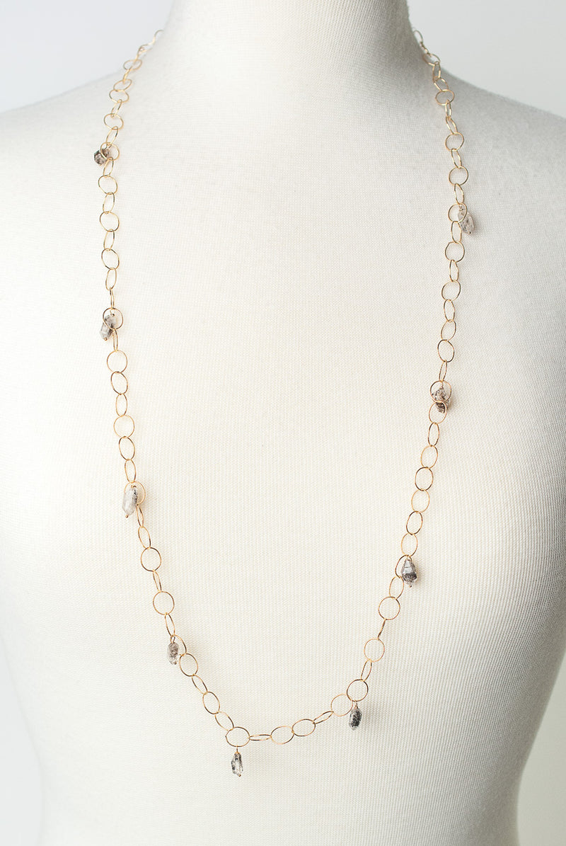 "Intuition 35"" Gold Herkimer Diamond Layer Necklace"