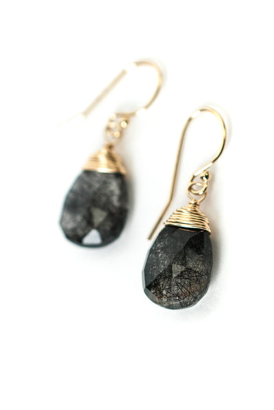 Intuition Black Rutilated Quartz Briolette Earrings
