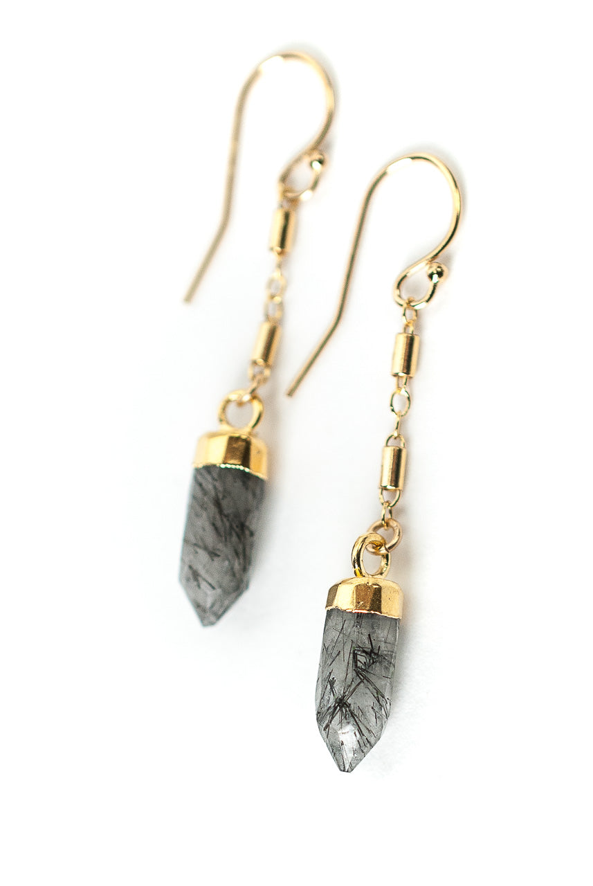 Intuition Rutilated Quartz Point Earrings