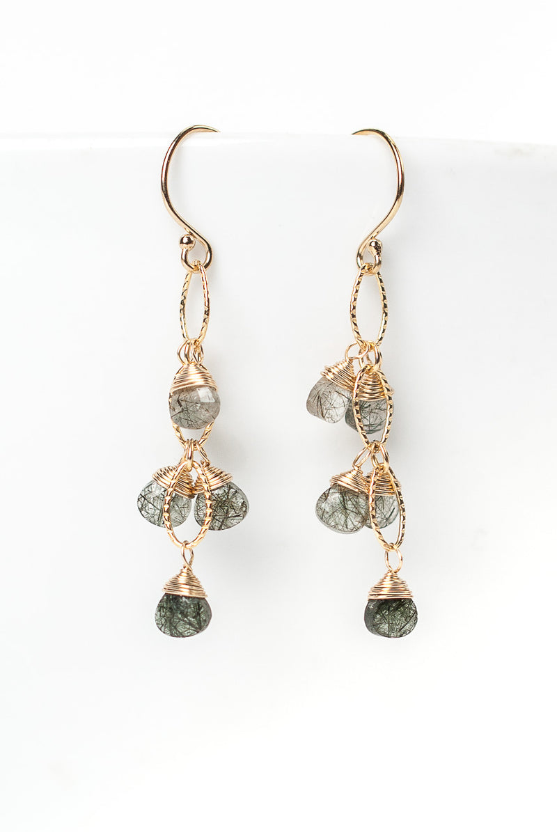 Intuition Rutilated Quartz Cascading Dangle Earrings