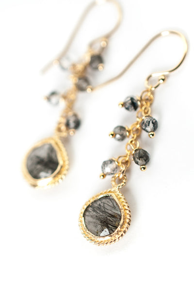 Intuition Rutilated Quartz Bezel Dangle Earrings