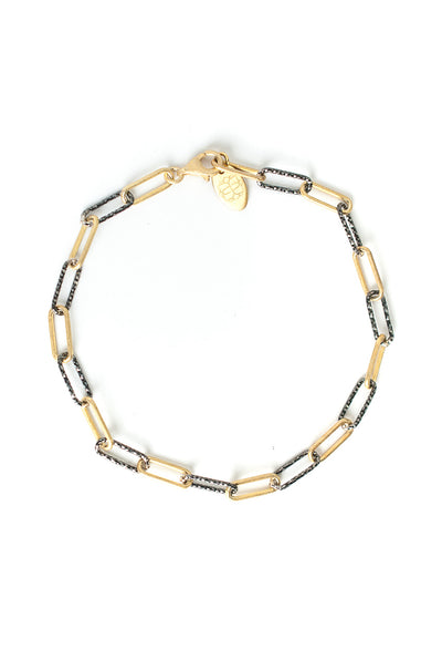 "Intuition 8"" Oxidized Silver & Gold Chain Bracelet"