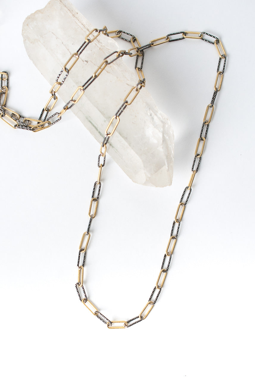 "Intuition 30-32"" Oxidized Silver & Matte Gold Chain Necklace"
