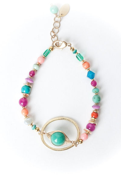 "Island Delight 7.5-8.5"" Amazonite Herringbone in Hoop Bracelet"