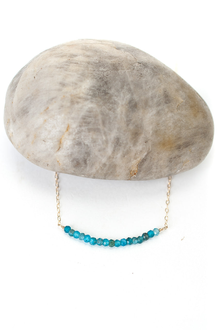 "Jovial 16.25-18.25"" Neon Apatite Bar Necklace"