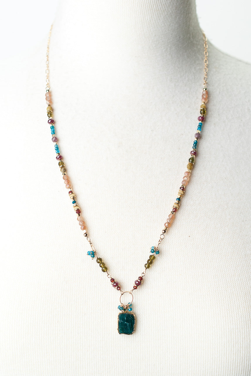 "Jovial 24-26"" Garnet, Ruby, Crystal, Neon Apatite Collage Pendant Necklace"