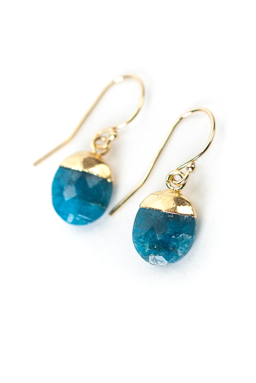 Jovial Neon Apatite Simple Dangle Earrings