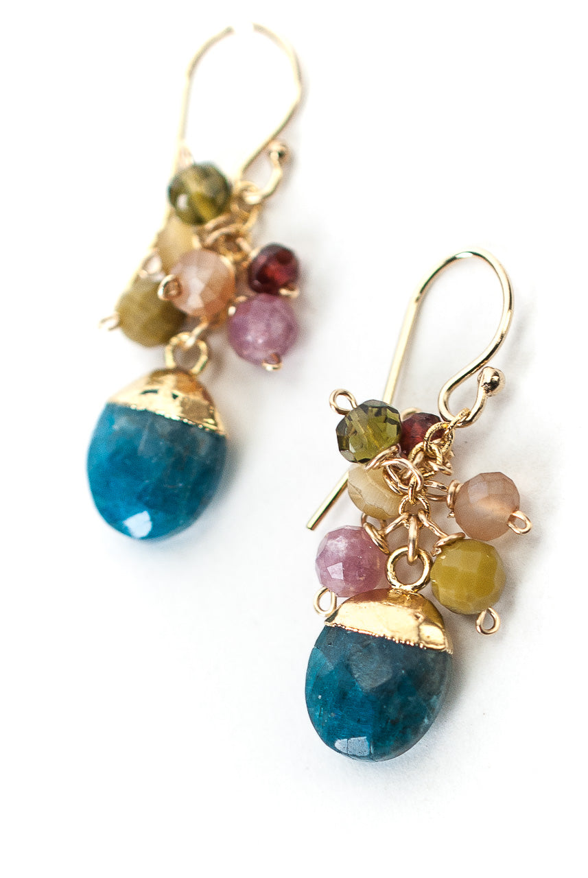 *Jovial Neon Apatite, Garnet, Crystal Cluster Earrings