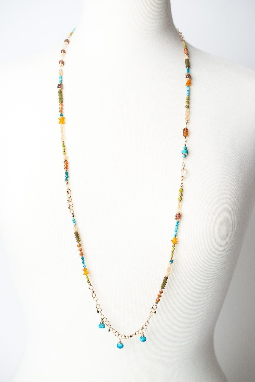 "Jubilee 37-39"" Long Gemstone Collage Necklace"