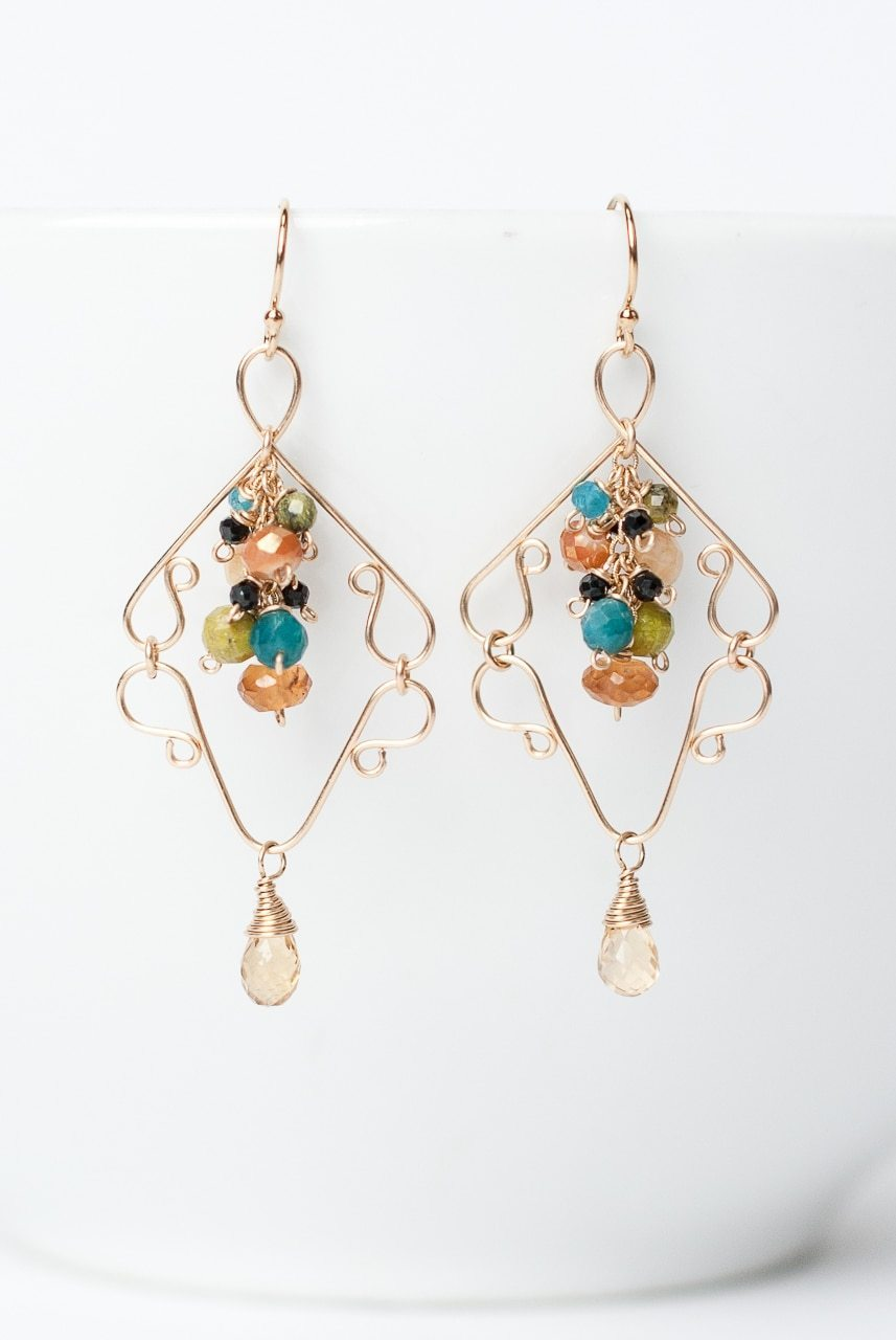 Jubilee Gold Chandelier Cluster Earrings