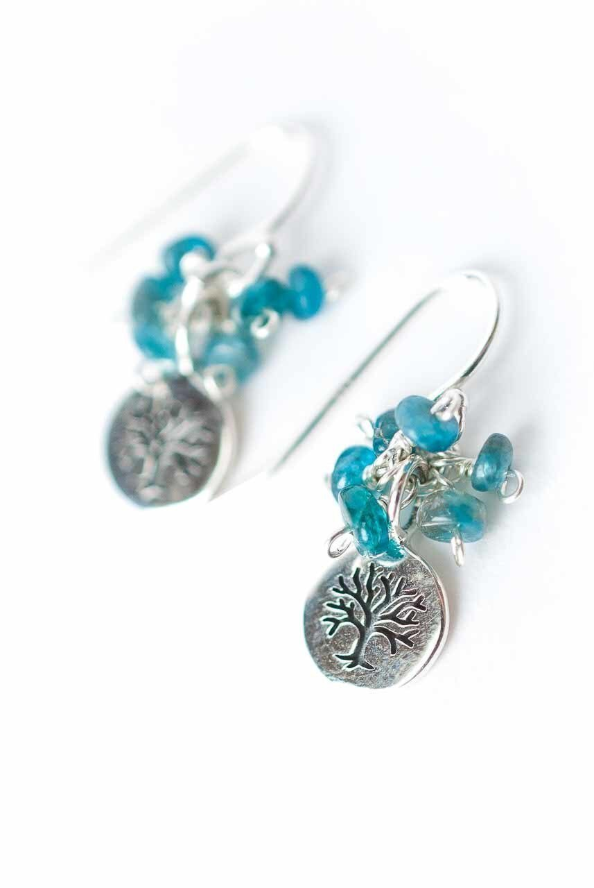 Life Apatite Cluster Tree of Life Earrings