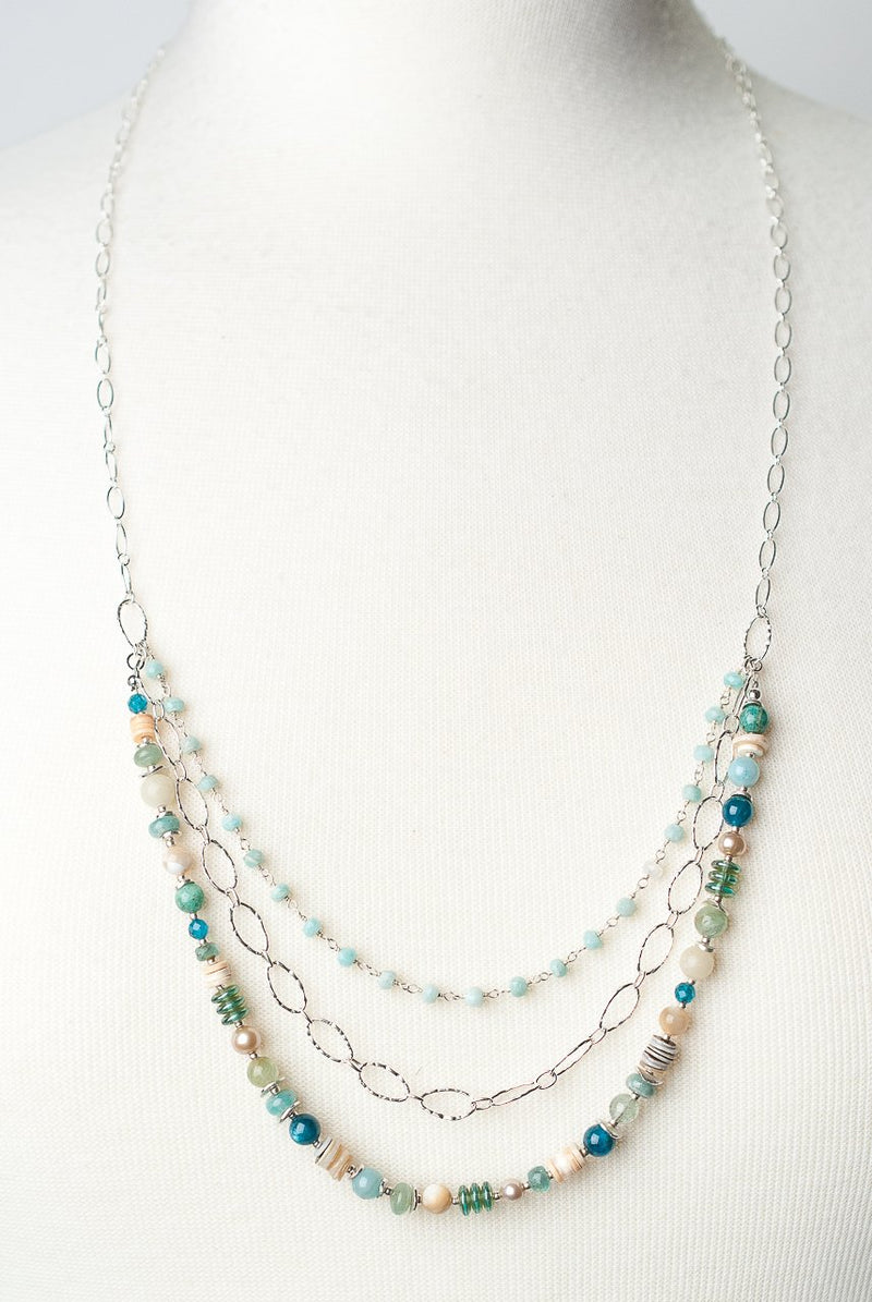 "Life 28.5-30.5"" Multistrand Collage Necklace"