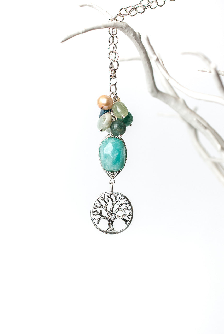 "Life 35"" Tree of Life cluster Pendant Necklace"