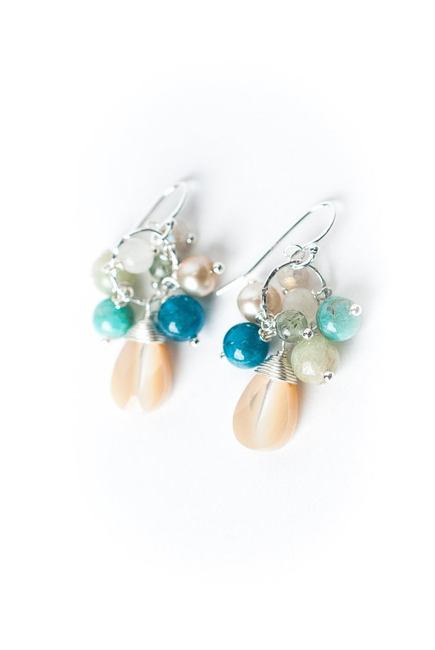 Life Polished Shell Cluster Earrings