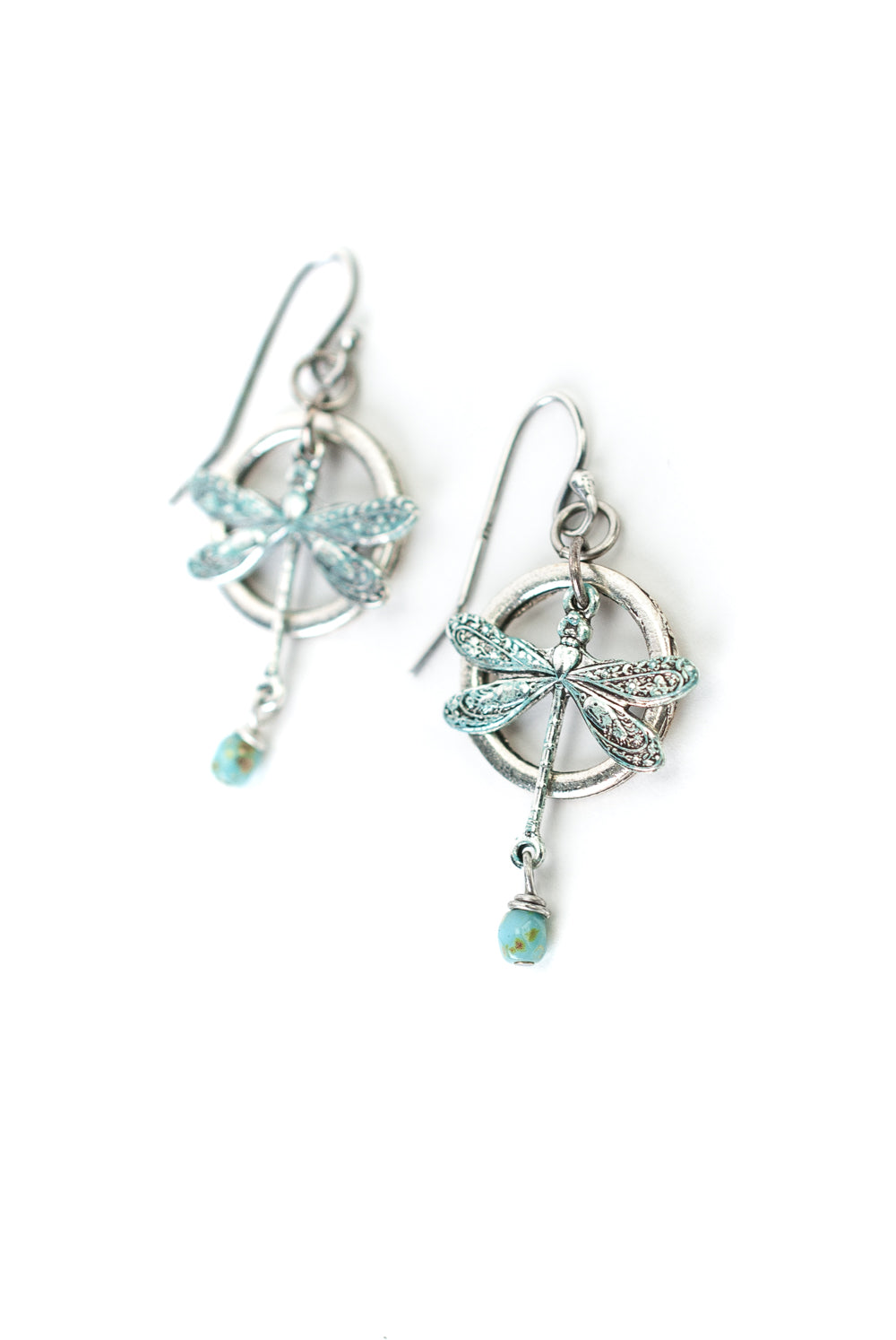 Lakeside Czech Glass, Patina Dragonfly Hoop Dangle Earrings