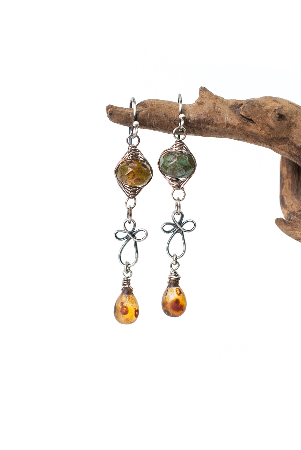Lakeside Czech Glass Herringbone Earrings