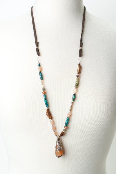 Limited Edition Adjustable Tibetan Focal on Leather Necklace