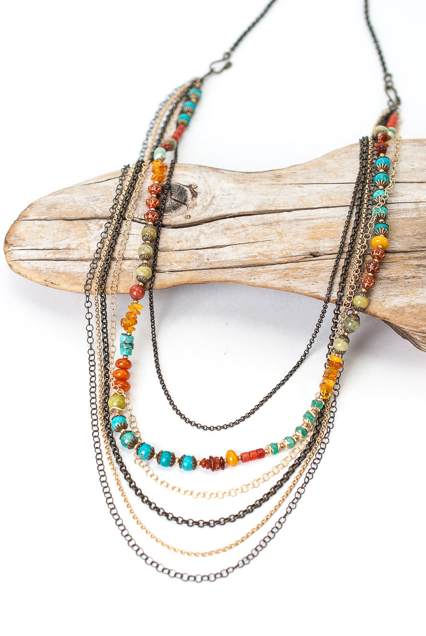 "Limited Edition 19.5"" or 29"" Coral, Jasper, Turquoise Multistrand Transitional Necklace"