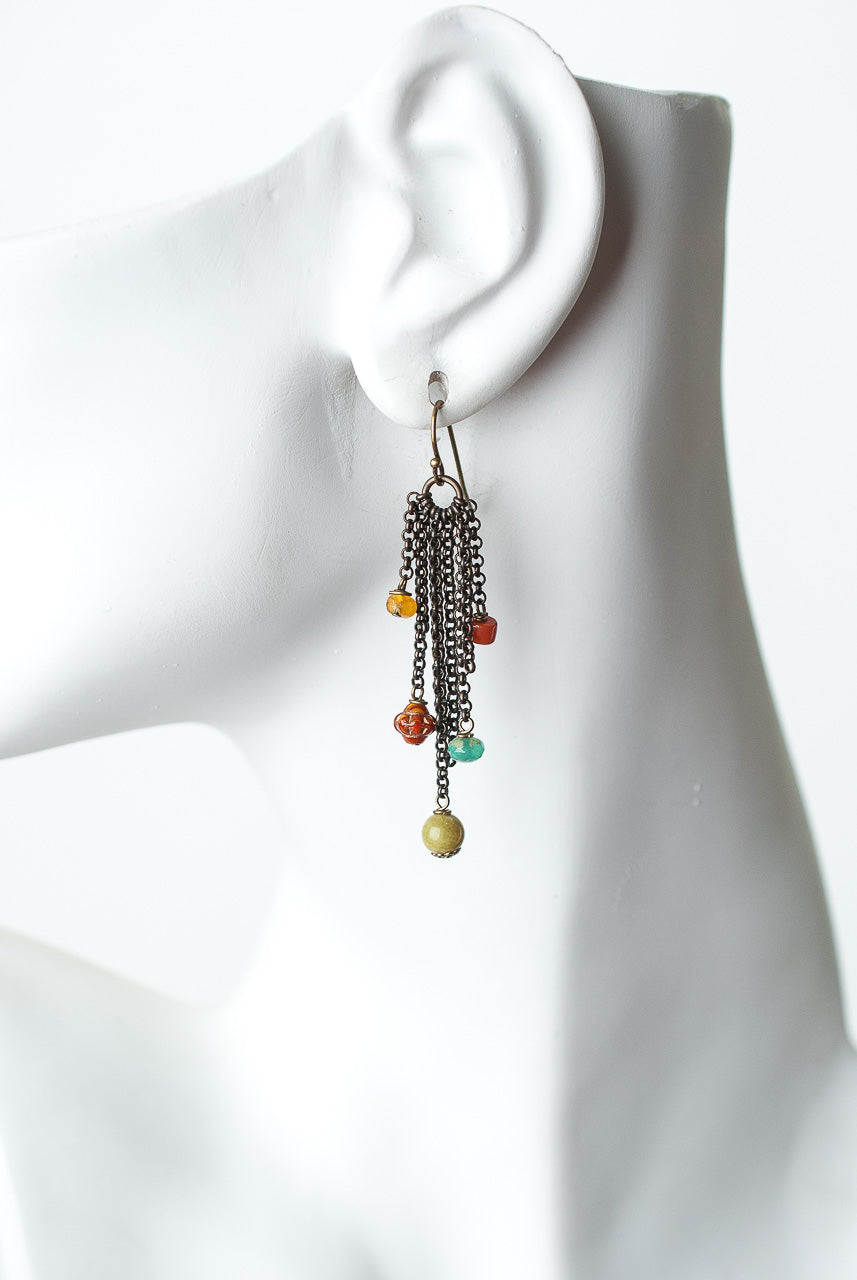 Limited Edition Coral, Olive Jade, Czech Glass Tassel Earrings